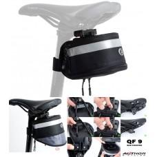 Сумка под седло Author A-S112 QF9, черная с рефлексивной полосой, вес 149 гр